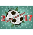 happy new year and soccer ball vector image vector image