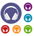 headphone icons set vector image vector image