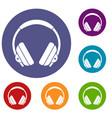 Headphone icons set vector image