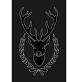 Hunting trophy Deer head in laurel wreath Black vector image vector image