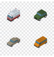 isometric automobile set of auto autobus armored vector image vector image