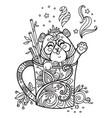 kawaii cute panda in a cup coloring vector image