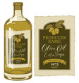 label for olive oil with an olive sprig vector image