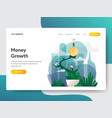 landing page template money growth concept vector image