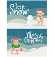 let it snow merry christmas postcards with piglet vector image vector image