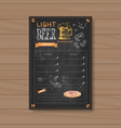 light beer menu design for restaurant cafe pub vector image vector image