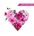 love romantic floral heart design hibiscus flowers vector image vector image