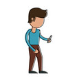 man with smartphone cartoon vector image