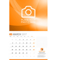 March 2017 Wall Monthly Calendar for 2017 Year vector image vector image