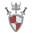 medieval shield with swords and horned helmet vector image vector image