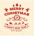 merry christmas and happy new year stamp sticker vector image
