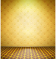 Old abandoned room with yellow wallpaper vector image vector image