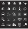 online shopping icons set on black background for vector image
