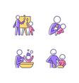 parent-child bonding rgb color icons set vector image vector image