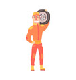 pit stop technician worker in an orange uniform vector image vector image
