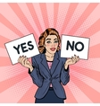 Pop Art Business Woman Trying to make Decision vector image