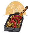 potato with sausages vector image vector image