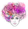 pretty young girl with peonies in her hair hand vector image vector image