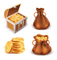 realistic golden treasure coins stack wooden vector image