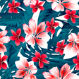 Red and white tropical hibiscus flowers seamless vector image vector image