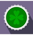 Rosette with four leaf clover flat icon vector image vector image