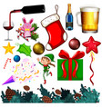 set isolated objects christmas theme vector image vector image