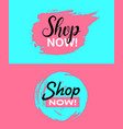shop now banners pink and blue vector image vector image