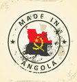 Stamp with map flag of Angola vector image vector image