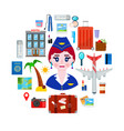 stewardess and travel objects vector image vector image