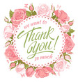 thank you message with roses vector image vector image
