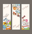three banners with colorful cartoon travel doodles vector image