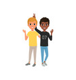 two friends having fun happy teenagers friendly vector image vector image