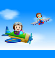 two pilot riding plane vector image vector image