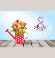 watering can with bouquet of tulips vector image