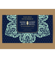 Wedding navy blue vintage floral card vector image vector image