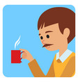 man with cup in his hand drinking hot coffee vector image