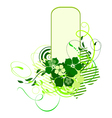 green banner with flowers vector image