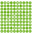 100 map icons hexagon green vector image vector image