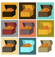 assembly of flat icons treasure chest vector image vector image