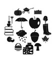 autumn icons set simple ctyle vector image