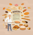 bakery shop baked pastry and baker vector image