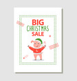 big christmas sale poster happy pig holding candy vector image vector image