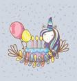 birthday party unicorn party cartoons vector image vector image