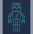 blue line robot with claw hand vector image vector image