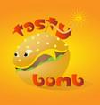 bright colored hamburger art logo tasty bomb vector image
