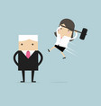 businesswoman jump smash boss from the back vector image