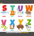 cartoon alphabet set with animal characters vector image vector image