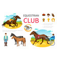 cartoon equestrian sport elements set vector image vector image