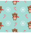 Christmas snowflake candy cane bear wearing red vector image vector image