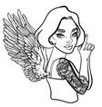 criminal beautiful girl with guns vector image vector image